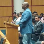 D.J. Larry, a member of the family of Michael Moore, addresses the Mobile City Council in support of the Police Citizens Community Relations Advisory Council (Photo by Arthur L. Mack.)