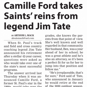 Camille ford takes Saints' reins from legend Jim Tate.
