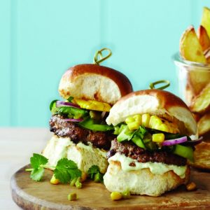 Mexican Beef Sliders with Jalapeno Salsa and Avocado Cream