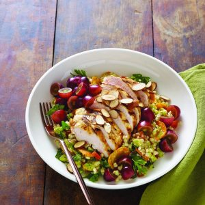 Moroccan Grape and Grilled Chicken Bowls with Grape Vinaigrette